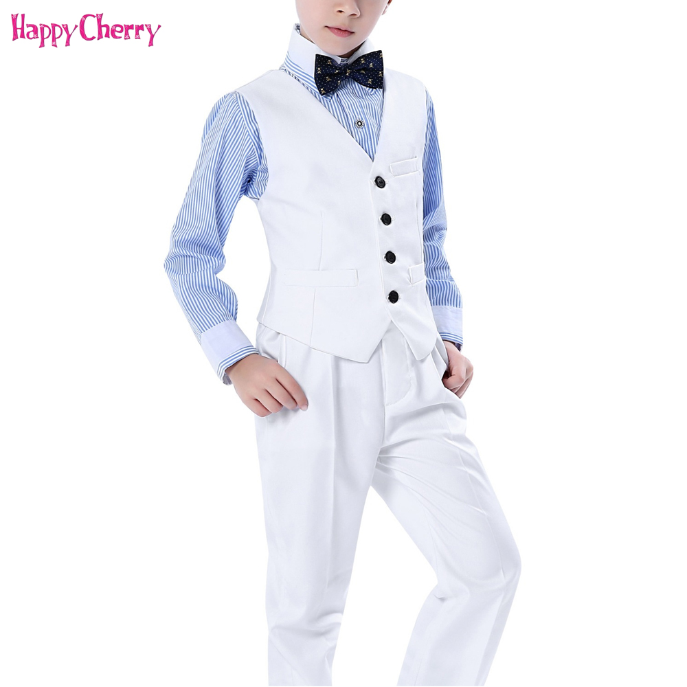 2018 Autumn Winter Child Boy Wedding Vest T-Shirt Suit Tie Children Birthday Party Dresses Boyes Sets Vest Jacket Pants Bow Set winter children boys formal sets 5 pcs woolen blend coat pants vest shirt tie costume wedding birthday party gentleman boy suit