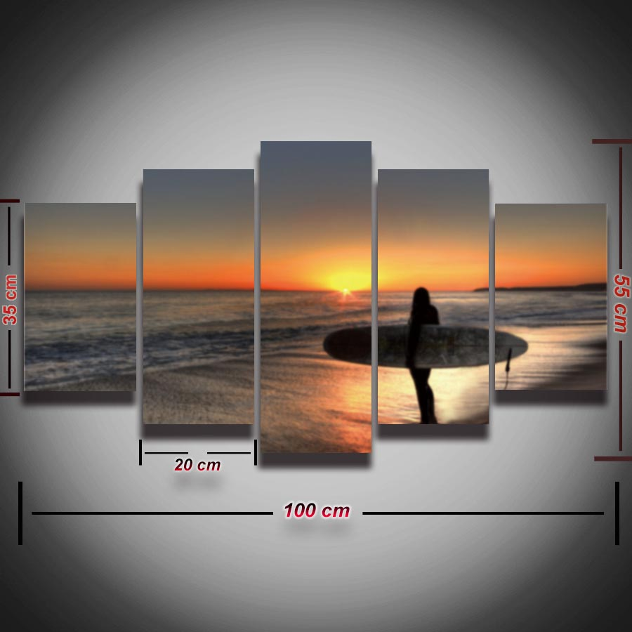 Printed Seascape Picture Canvas Painting Surfing Sea Waves Beach