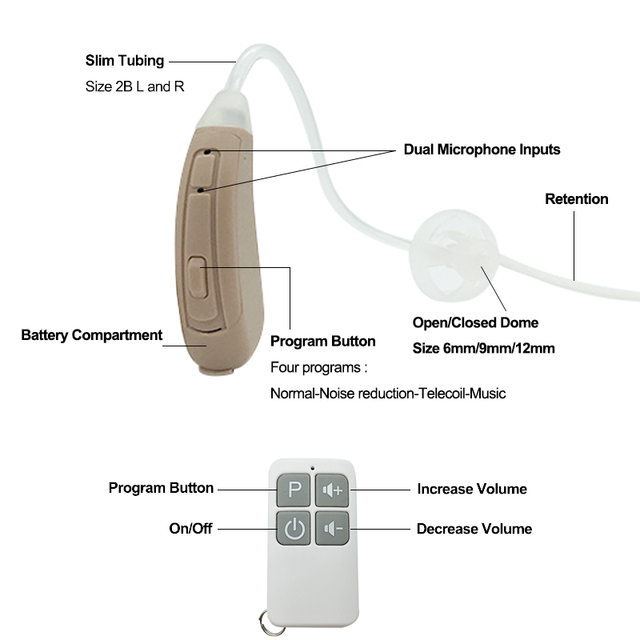 Small Discreet 4 Channels Digital Remote Control Open fit BTE Hearing Aid 312 Battery with Siemens Phonak Hearing Aid Quality