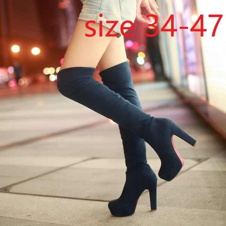 Kadınlar Yüksek Topuklar Üzerinde Kayma Diz Seksi Uzun Çizmeler Kadın Platformu Ayak Bileği Patchwork Akın Iki Yönlü Giyim Artı boyutu 34-47