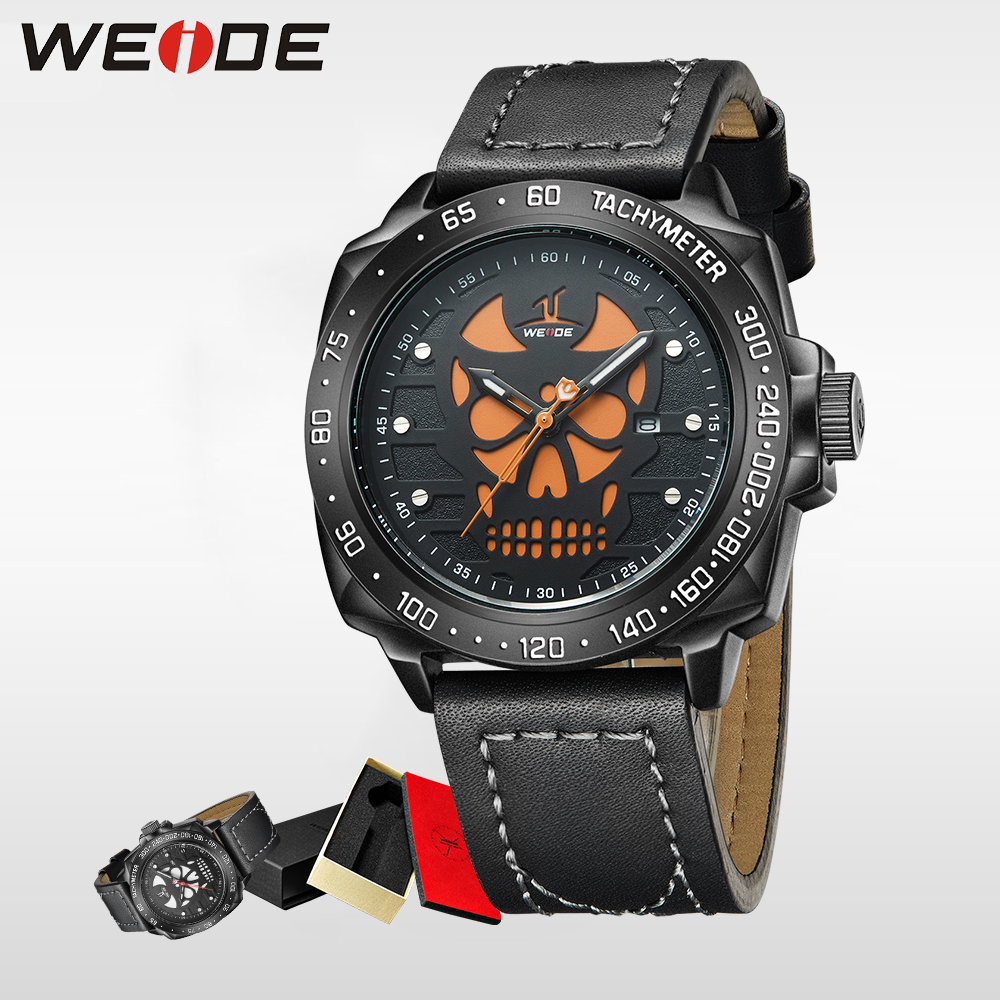 WEIDE Brand Sport Watch  Men Quartz Wristwatch Water Resistant Analog Display Leather Strap Relogio Masculino halloween watch weide japan quartz watch men luxury brand leather strap stainless steel buckle waterproof new relogio masculino sport wristwatch