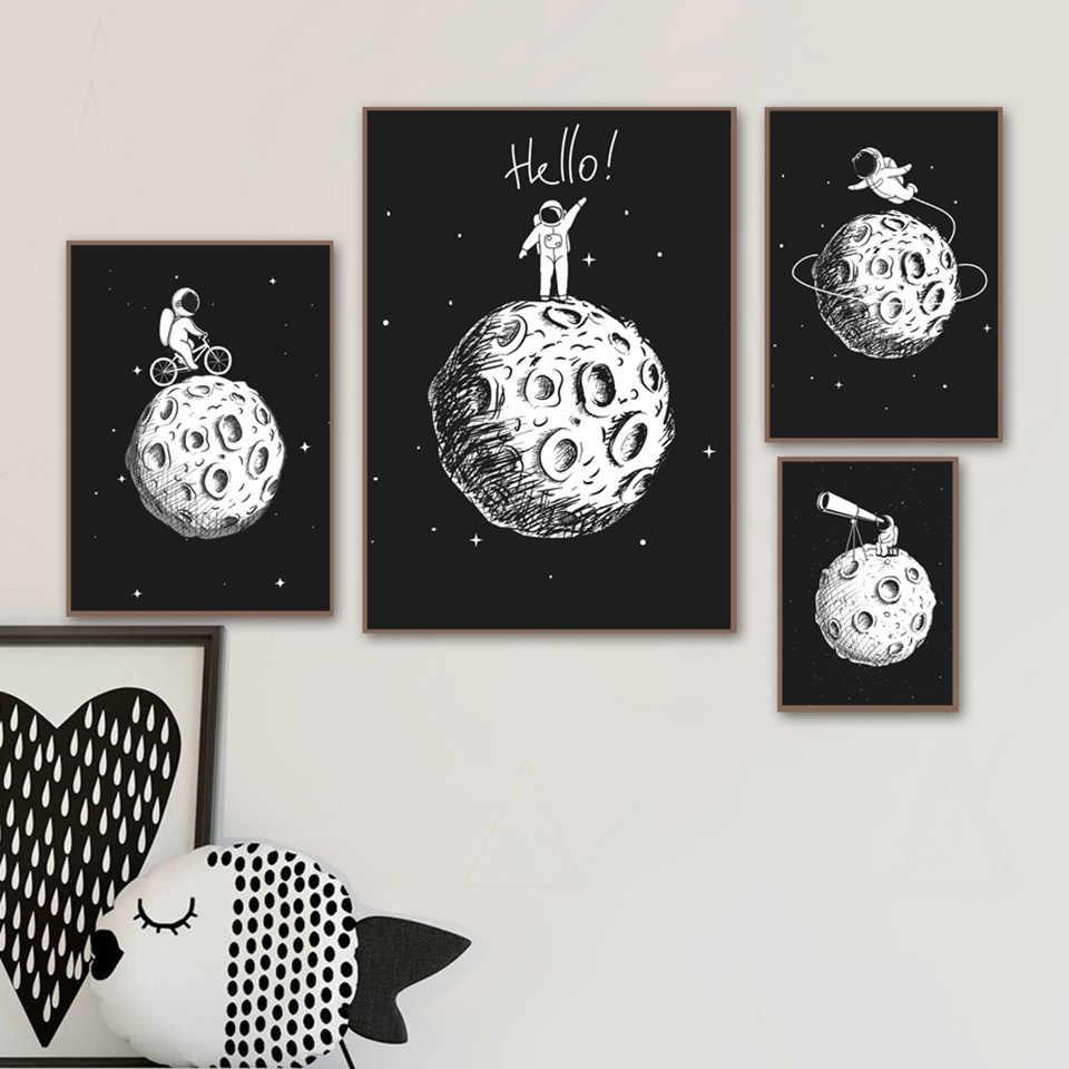 Dinding Artwork Lukisan Kanvas Nordic Hitam Putih Astronot Bulan Poster Dan Cetakan Gambar Kartun Untuk Anak Anak Dekorasi Ruang