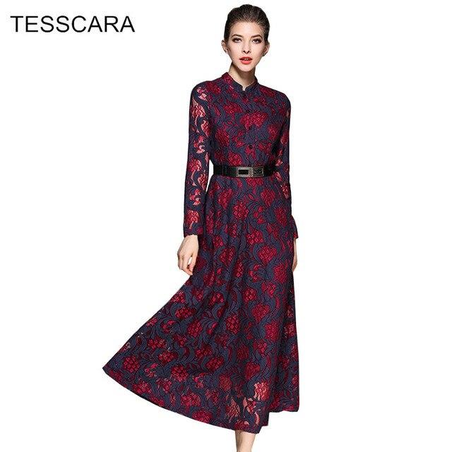 Для женщин Весна и осень Кружево платье рубашка женские элегантные длинные макси Туника Vestidos ретро роковой Украина Винтаж вязаная одежда