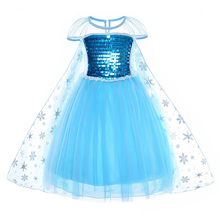 AmzBarley Toddler Girls Snow Queen Sequins Dress Elsa Princess Costume Lace Birthday Party outfits kid Halloween Cosplay clothes цена