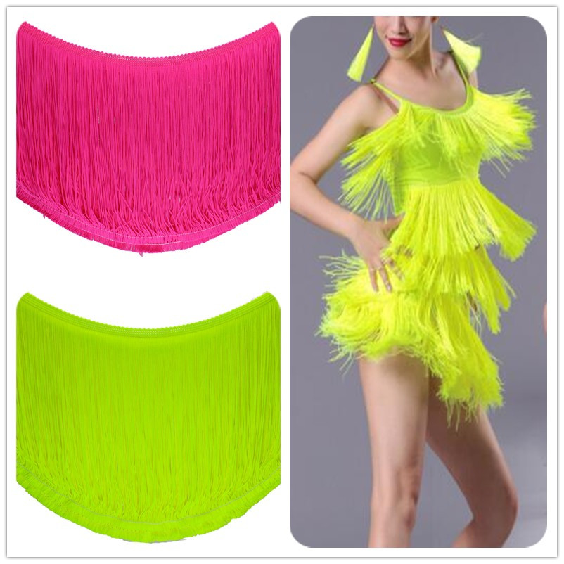 Fringe Rumbai Latin Fringe Lace Trims Dance Dress Macrame Appliques Pemangkasan Matte Fluorescent Nylon Ganda Band Samba 18-20 cm