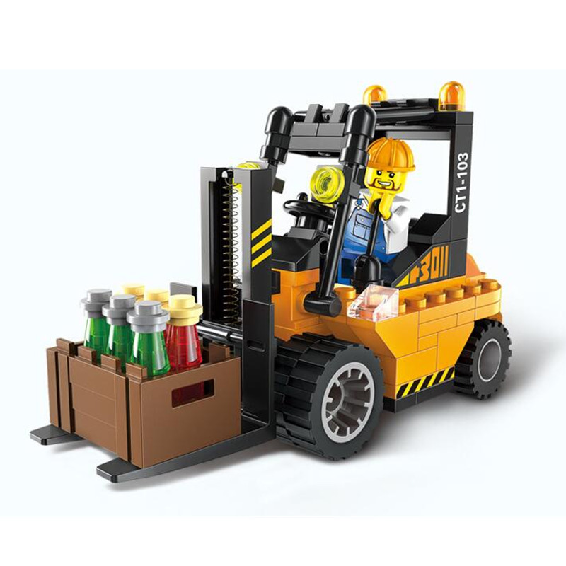 Super Cool!! 115pcs/set Forklift Trucks Assembly Building Blocks Kits Children Educational Puzzle Toys Kids Birthday Gifts kids educational toys 102pcs set sweeper model assembly building blocks kit enlighten puzzle toy children birthday gifts