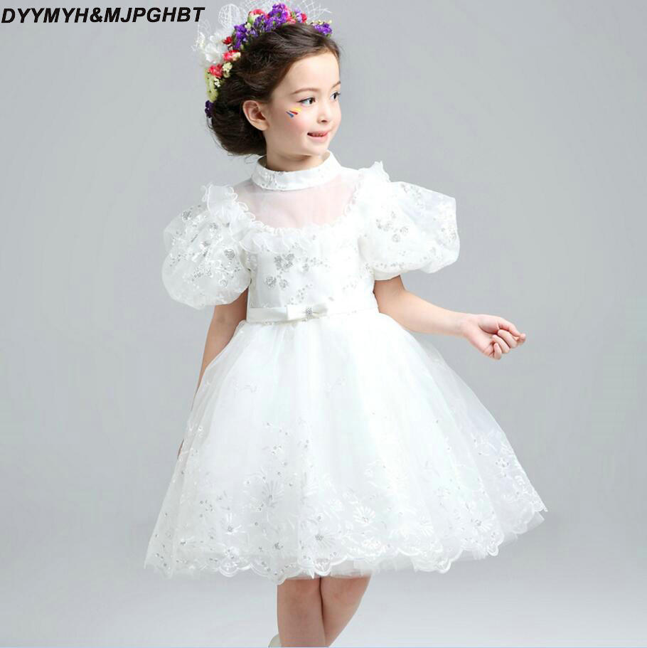 Bubble Short Sleeve Girls Pageant Dresses High Neck Puffy Skirt Lace/Tulle Flower Dress