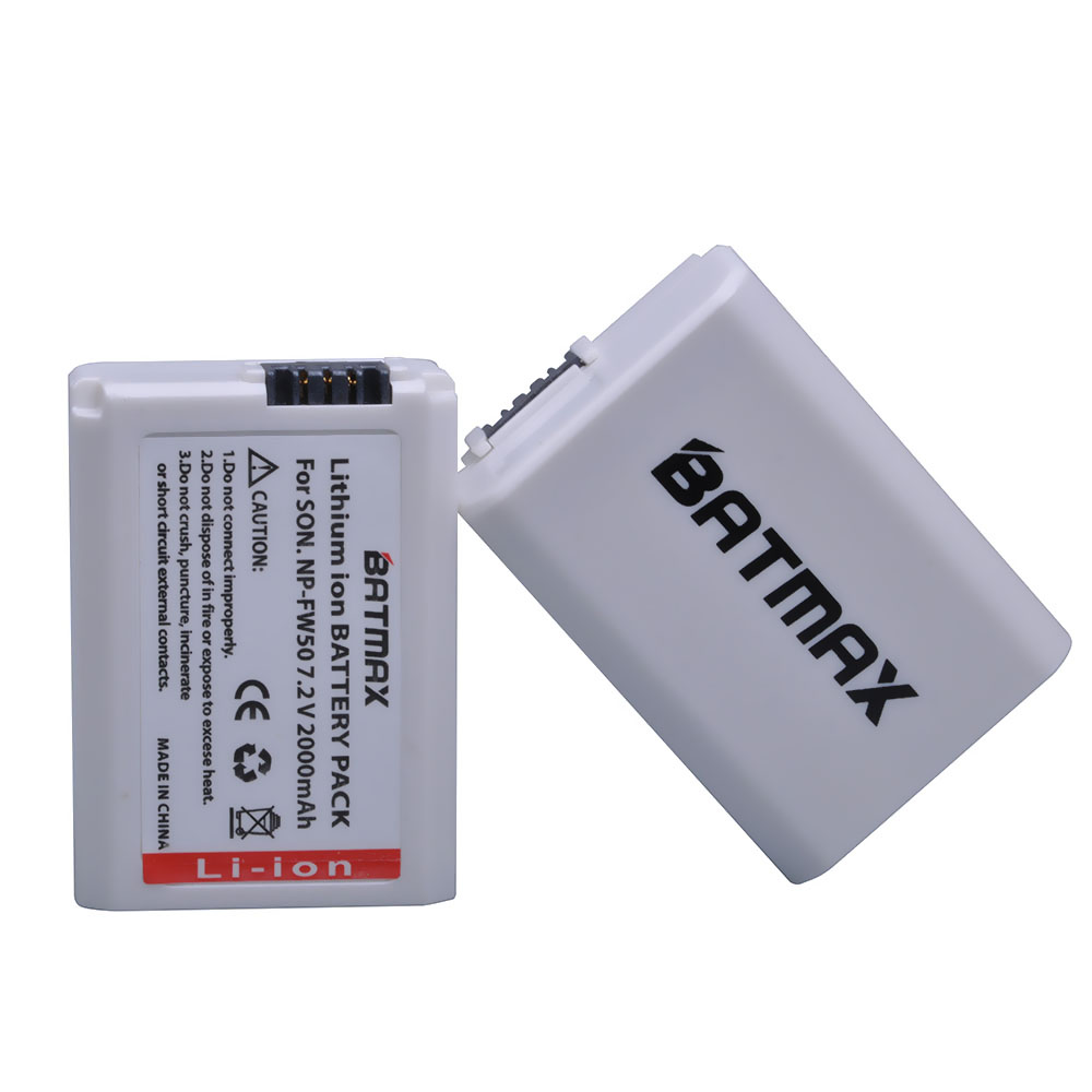 Batmax 2Pcs 2000mAh NP-FW50 NPFW50 NP FW50 Digital Camera Battery for Sony Alpha 7 a7 7R a7R 7S a7S a3000 a5000 a6000 NEX-5N 5C