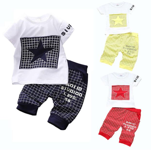 14ce22f14 Baby Boy Clothes 2018 Brand Summer Kids Clothes Sets T shirt+Pants Suit  Clothing Set Star Printed Clothes Newborn Sport Suits-in Clothing Sets from  Mother ...