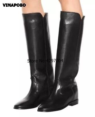 Vinapobo 새로운 빅 사이즈 35 42 겨울 웨지 니 하이 부츠 패션 여성 부츠 지적 발가락 캐주얼 여성 드레스 부츠 롱 부츠-에서무릎 - 하이 부츠부터 신발 의  그룹 3