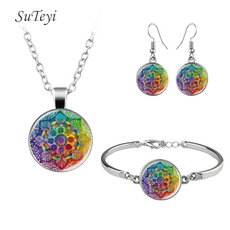 SUTEYI 2017 Trendy Print Art Picture Glass Necklace Adjustable Bracelet Mandala Hooks Earrings Buddhist Necklaces Jewelry Sets