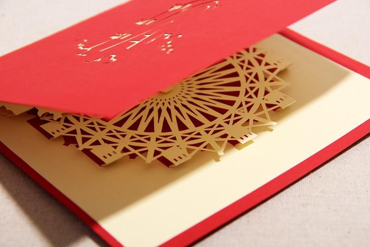 2015 Kawii Christmast Cards 3d Pop Up Ferris Wheel Patterns Greeting Wedding Laser Cut Card 5pcs Lot Red 1613CM Wholesale On Aliexpress