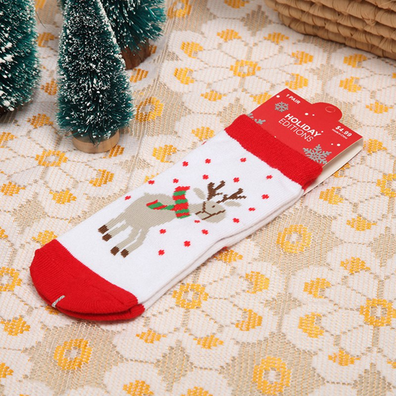 Cotton Spring Winter Autumn Baby Girls Boys Kids Socks Children Striped Snowflake Elk Santa Claus Christmas 1 Pair christmas candy santa claus snowflake choker dress