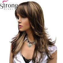 Strong beauty, perruque synthétique complète classique avec reflets bruns à longue couche pour femmes