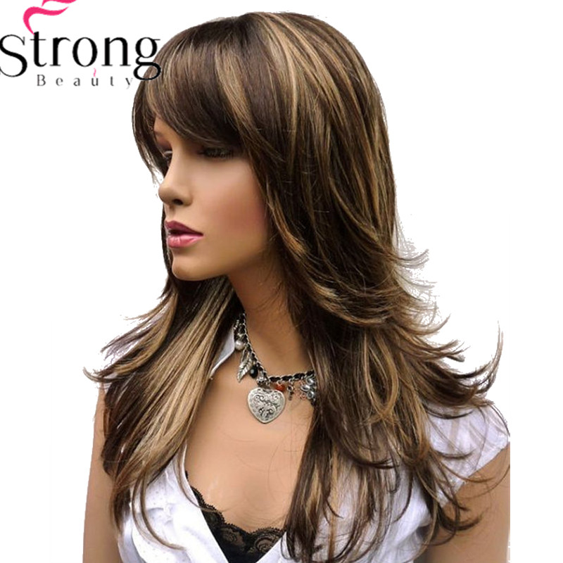 StrongBeauty Long Layered Brown Highlights Classic Cap Full Synthetic Wig Women's Wigs-in Synthetic None-Lace  Wigs from Hair Extensions & Wigs