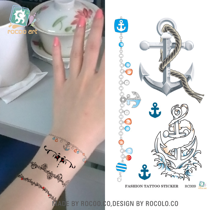 RC-009/Waterproof Disposable Tattoo Wrist Anchor Temporary Tattoo Stickers Japanese Harajuku Style Series Rocooart Tatoo ...