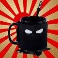 Envío Gratis 1 Pieza de Asesinar Cafeína Ansiedad Ninja Espada Taza Máscara Negro Taza De Cerámica con Cuchara y Shuriken Coaster