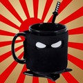 Free Shipping 1Piece Assassinate Caffeine Cravings Ninja Mug Black Mask Ceramic Mug with Spoon Sword and Shuriken Coaster