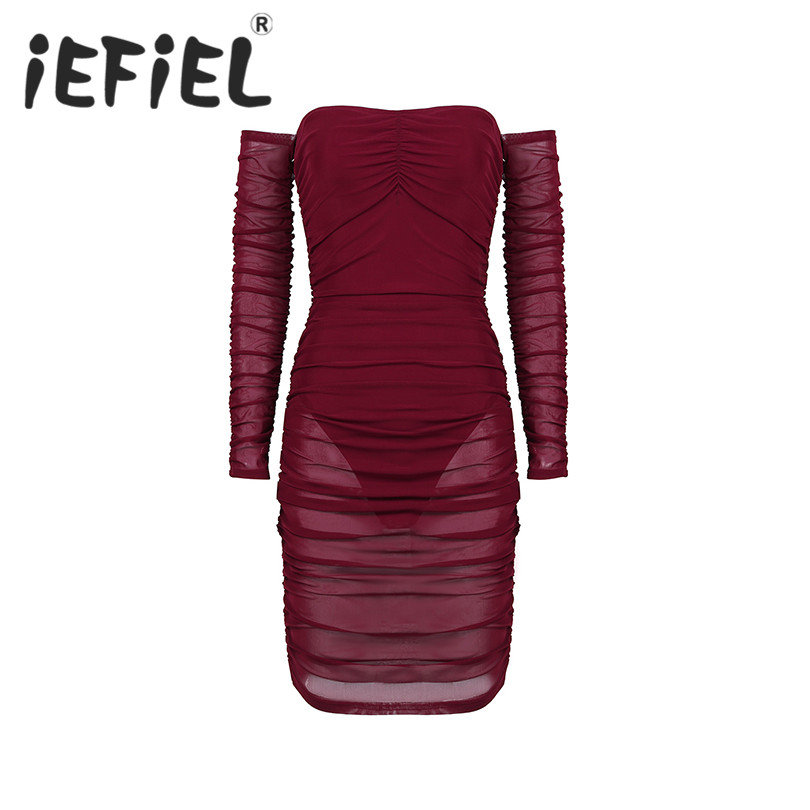 Sexy Women Female Mesh See Through Sheer Off Shoulder Long Sleeve Ruffled Overlay Bodycon Club Mini Dress for Cocktail Party