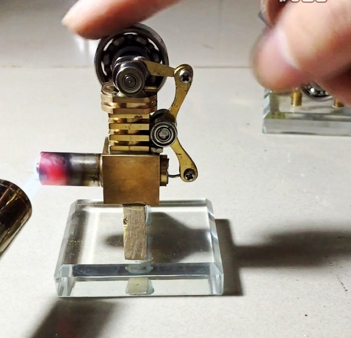Micro mini metal stirling engine   model DIY kits science toy with led(vedio on computer page)