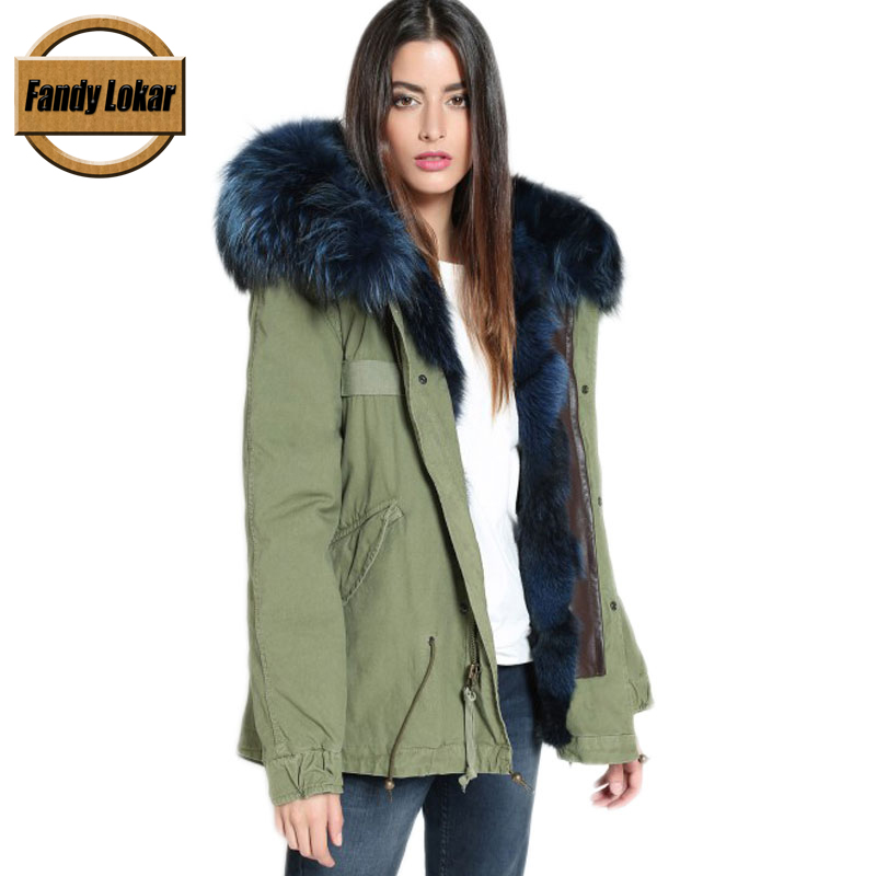 Raccoon Fur Collar Zipper Hood Coat Women Winter Fashion Real Wolf Fur Liner Removable Parka Women Army Bomber Jacket FP9111 printed long raccoon fur collar coat women winter real rabbit fur liner hooded jacket women bomber parka female ladies fp896