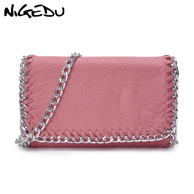 NIGEDU Woven chain women Crossbody Bag Soft PU leather messenger Bags for Female Clutch Bag design Shoulder bag small wallet