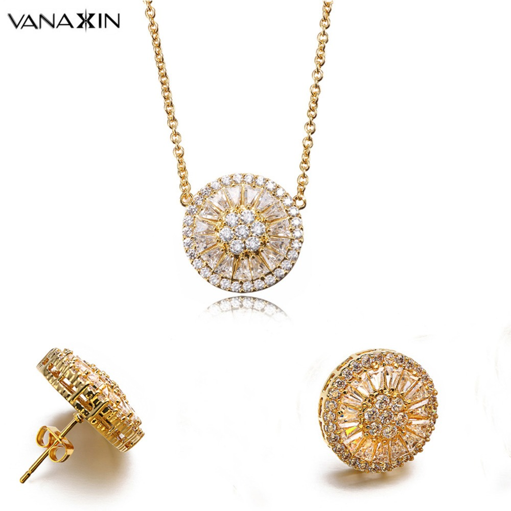 Online get cheap flower girl jewelry sets aliexpress vanaxin goldsilver color trendy stud earringsnecklace cute korean style white cz for women flower party jewelry sets girl gift dhlflorist Image collections