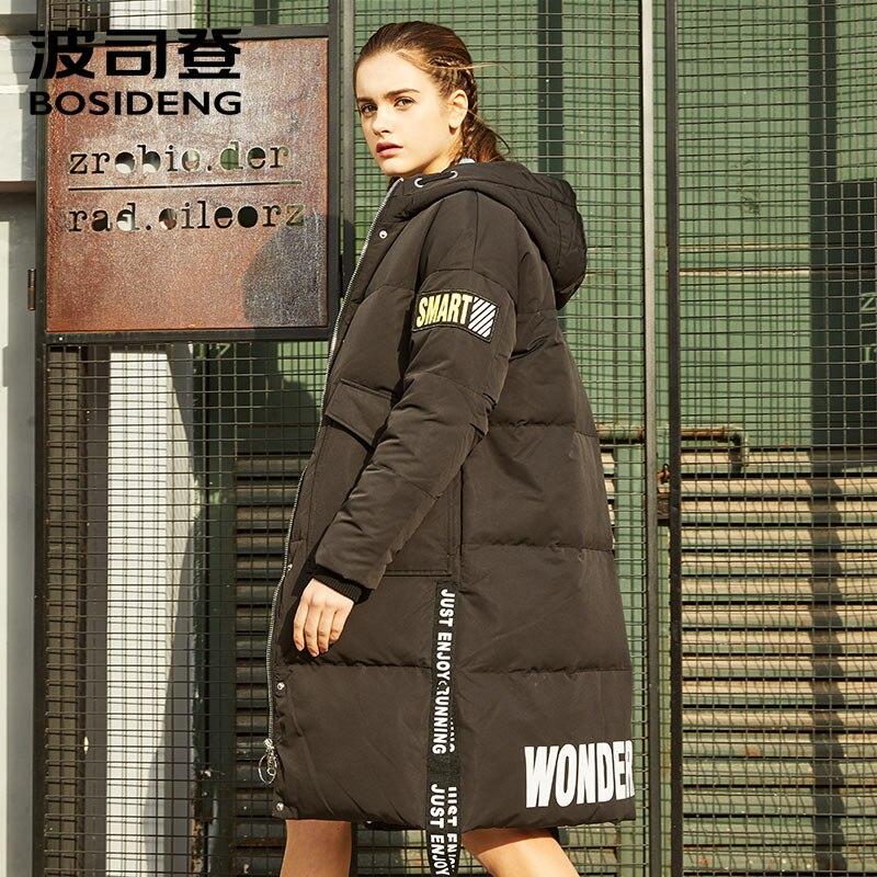 BOSIDENG nuovo Inverno addensare X-lungo giù giacca cappuccio giù cappotto per le donne lungo parka caldo di alta qualità del nastro tessitura B70142558