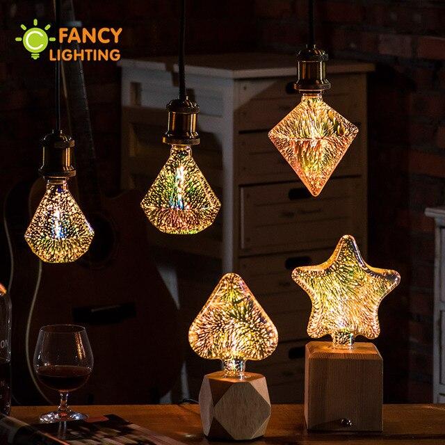 Led Lamp Star Heart Diamond 3D Bombillas 110V 220V Decorative Light Bulb