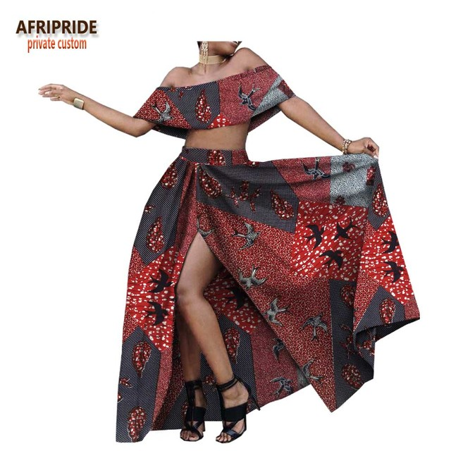 2018 summer sexy skirt set for women AFRIPRIDE customzied strapless short top+floor length split skirt women skirt set A1826006