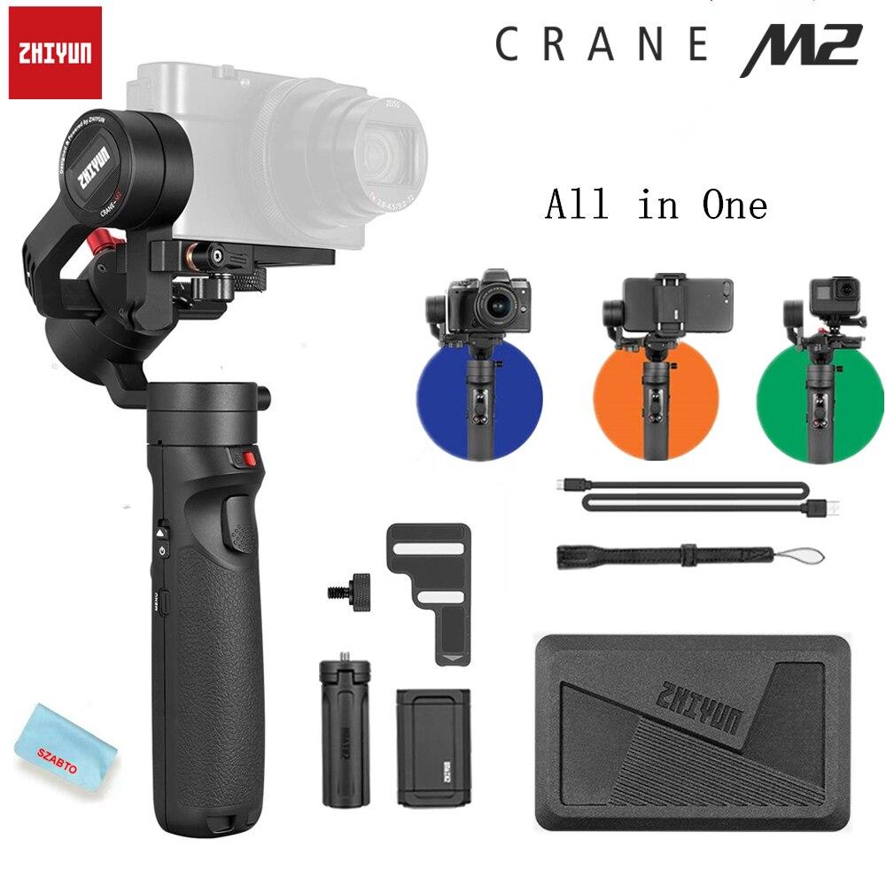 Zhiyun Crane-M2 Guindaste M2 3-Eixo Cardan Handheld Estabilizador Portátil All in One para Câmeras Mirrorless Câmeras de Ação do Smartphone