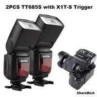 2pcs Godox TT685S TTL HSS GN60 Speedlite Flash for Sony A7 II A7R II A7S II A6300 +1pcs X1T S TTL 2.4G HSS Wireless Trigger GIFT