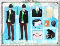 Free! Haruka Nanase Makoto Tachibana Cosplay Costume School Uniform Shirt+Sweater+Coat+Tie+Belt+Pants+Bag+Glasses+Watch