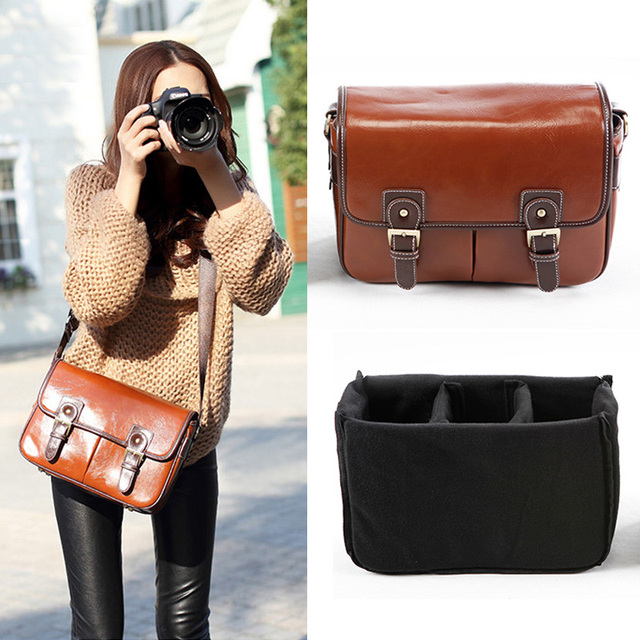 96428597ad Roadfisher PU Leather Vintage DSLR Photography Travel Camera Bag Shoulder  Messenger Bag Insert Case For Canon Nikon Sony Pentax