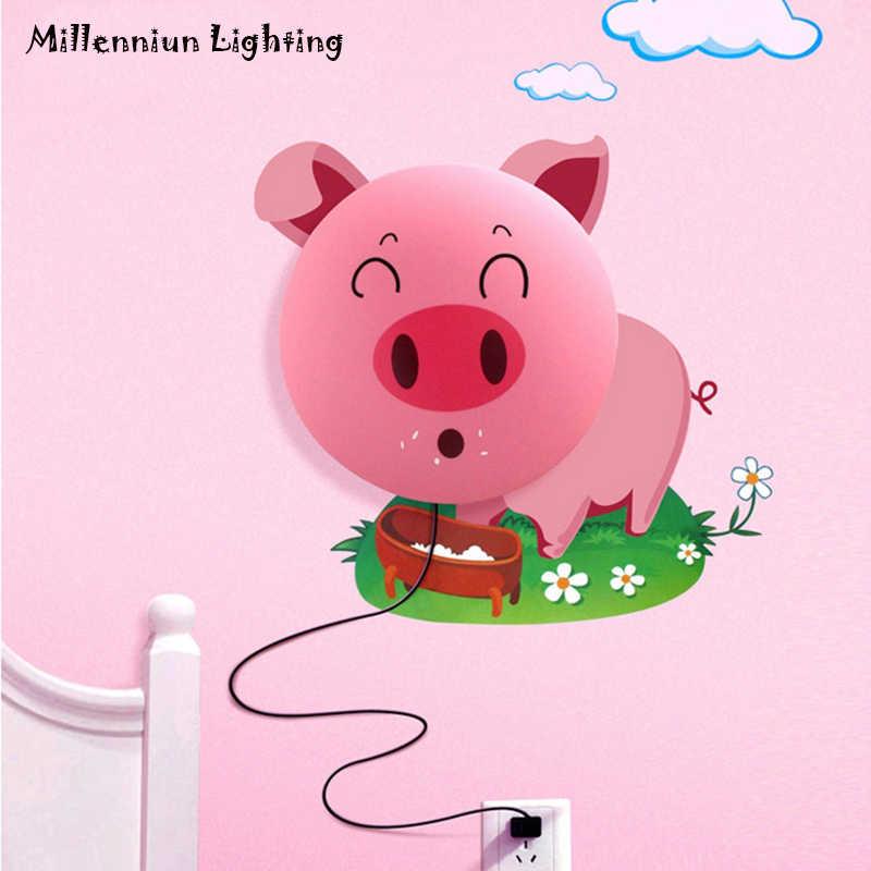 Обои 3D настенный светильник креативная детская спальня прикроватные лампы освещения Мультяшные лампы в виде розовой свинки персонализированное украшение светильники E14