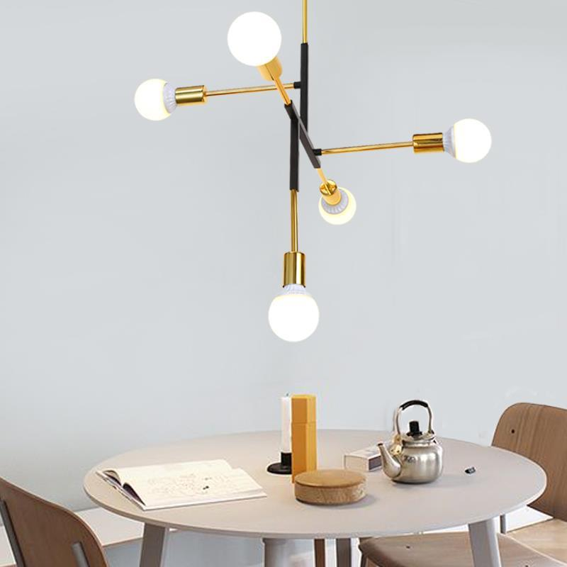 Modern Creative Nordic LED Pendant Lights Retro Lamps Art Decoration Lights E27 bulb Industrial Suspension Lamp For Dining Room nordic modern 10 arm pendant light creative led hanging lamps tube rod toolery for living room dining room lamp home decoration