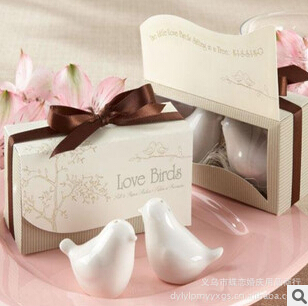 Salt Wedding-Souvenirs Gift 10boxes Pepper for 20pcs/Lot Shaker Birds Ceramic And High-Quality