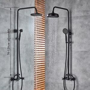 """Image 5 - Shinesia antika/siyah bronz banyo duş seti mikser musluk 8 """"yağmur biçimli duş başlığı duş başlığı çift kolu duvara monte"""