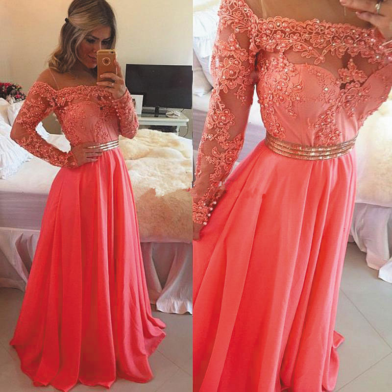 2019 Long Sleeve Scoop Beaded Lace A Line Coral Chiffon Long   Prom     Dress   With Belt Custom Made Evening Gown Robe De Soiree