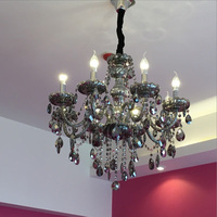 Modern Crystal Chandelier Ceiling Lamp Living Room Smoke Gray Bedroom Black Retro Kitchen Candle Lamps Led