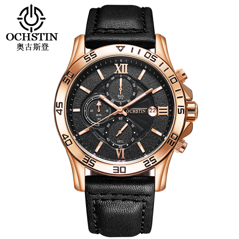 OCHSTIN Brand Sport Men Watch Top Brand Luxury Leather Waterproof Chronograph Quartz Wrist Watch Men Military Male Clock Saat watch men ochstin top luxury brand designer military quartz watch silicone business black sport quartz watch male wristwatch
