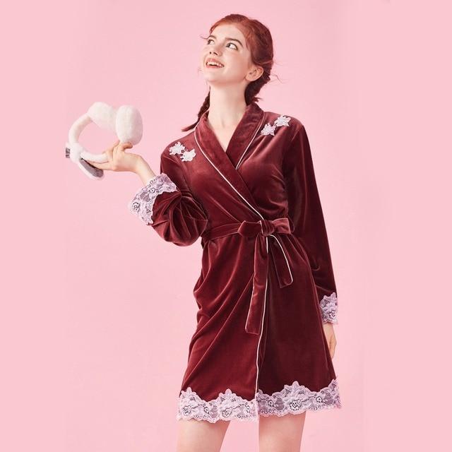 Autumn New Japanese Female Velour Long Sleeve Short Kimono Bathrobe ...