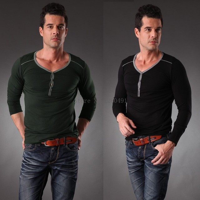 Slim Fashion Men Casual Long Sleeve T Shirt 3 Button T Shirt ...