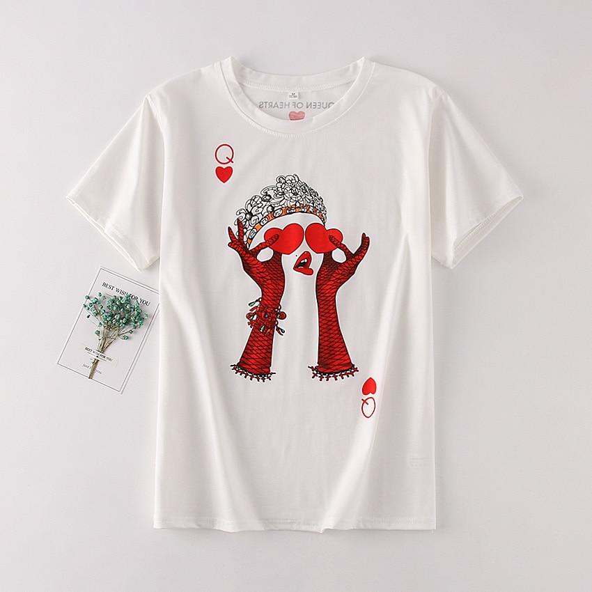 e8574d2d5 Casual White Cotton Women T-shirt Fashion Playing Card Red Q Girl Harajuku  Tops Female