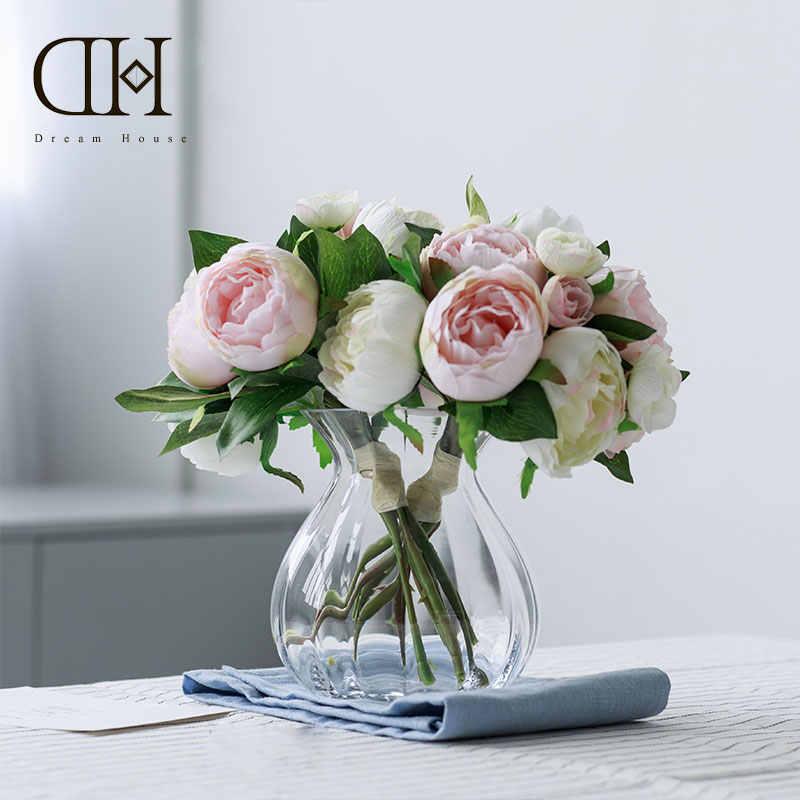Dream House Dh Glass Small Vase Peony Camellia Bouquet Artificial Flowers Arrangement Floral Suit Home Wedding Party Decoration Artificial Dried Flowers Aliexpress