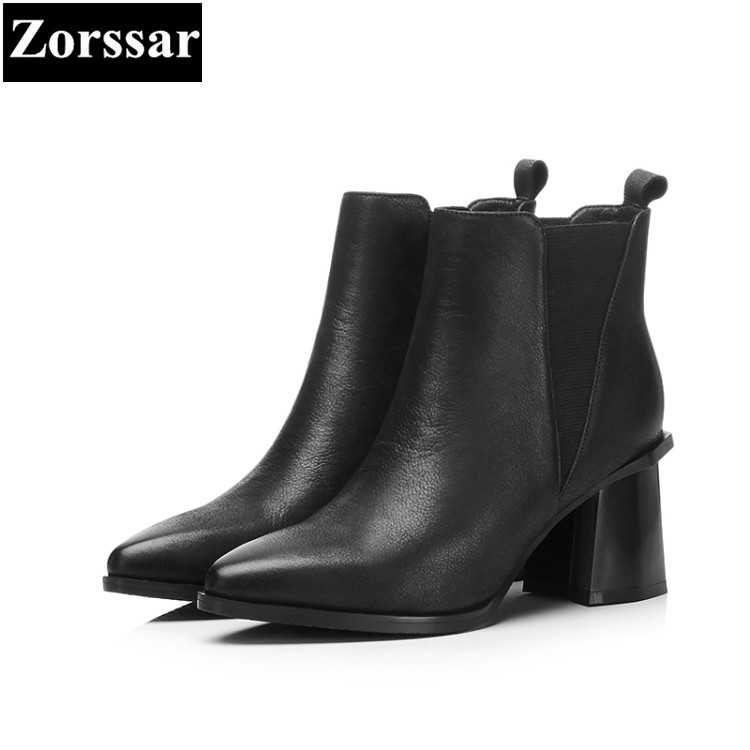 {Zorssar} 2018 NEW Large size Women Boots Thick heel Round Toe High heels ankle Riding boots Cow leather womens shoes winter