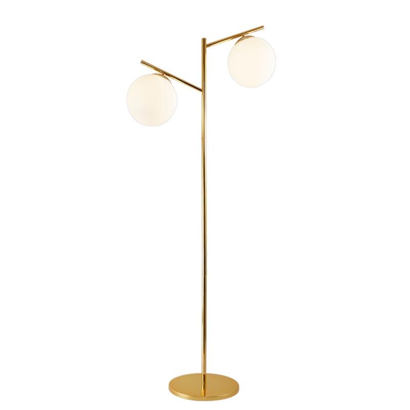 Poromtion Modern Floor Lamp 2 head glass milky noridc corner Standing Light Fixture Living Room Study Bedside Reading sofa Lamp