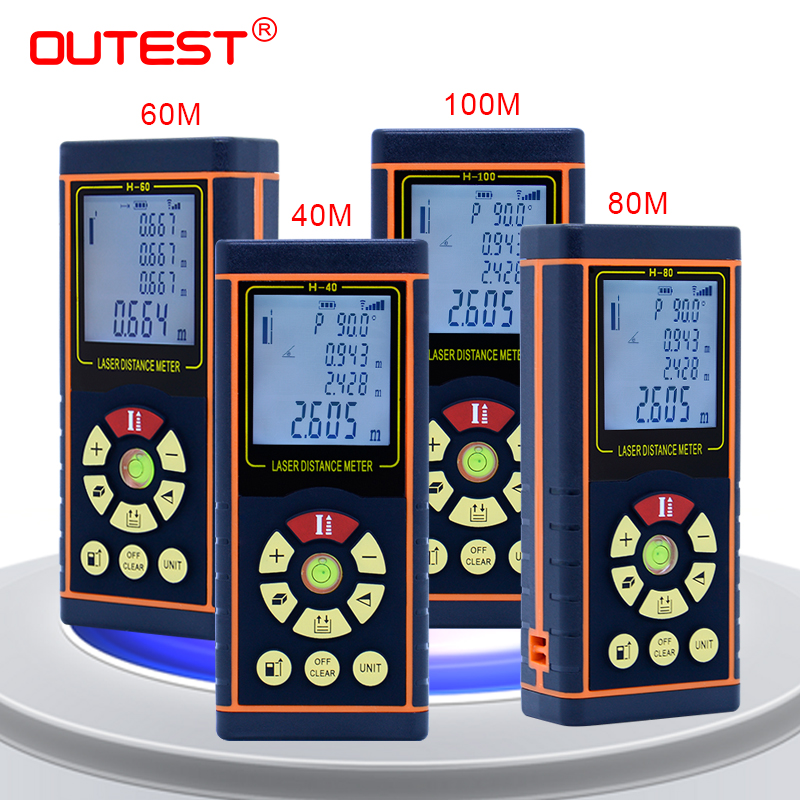OUTEST medidor de distância a laser telêmetro laser fita métrica trena a laser governante fita com nível eletrônico 60 40 m m 80 m 100 m
