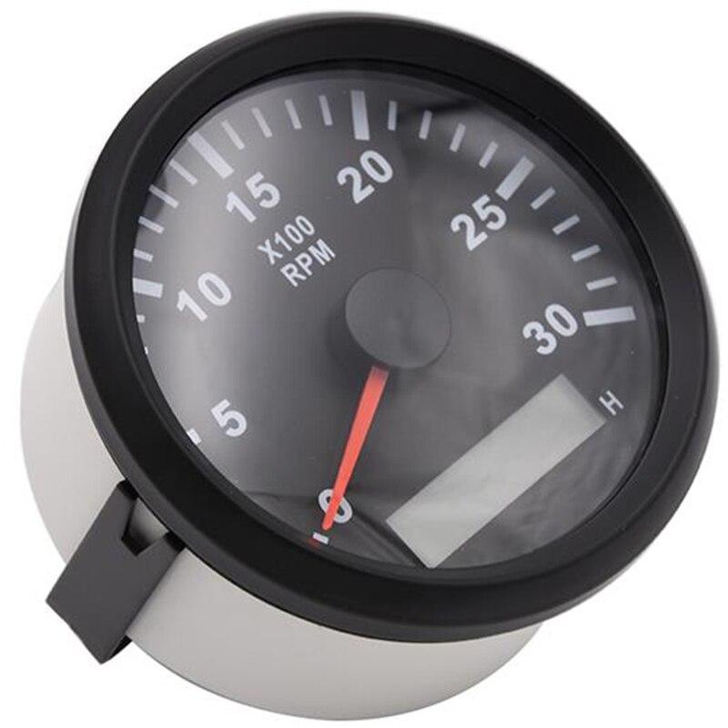 Tachymètre 85mm 3000 tr/min avec compteur horaire camion voiture bateau moteur Diesel Tacho tr/min jauge compte-tours avec rétro-éclairage tacometro