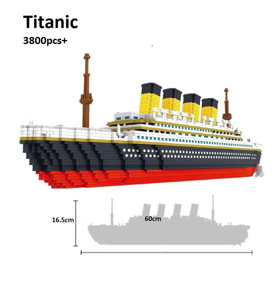3800 pcs PZX Mini blocks Titanic Building Bricks Model Big size 60cm Figures Educational Toys Boat